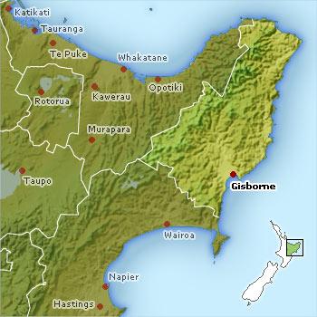Mapa East Cape Nueva Zelanda