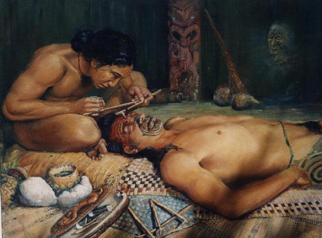 Ilustración de un tatuaje Ta moko