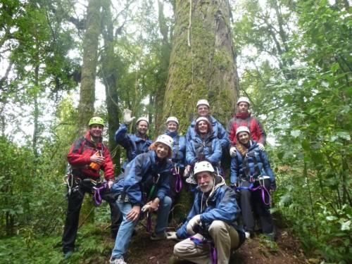Fotografía de grupo en el Canopy Tour de Rotorua