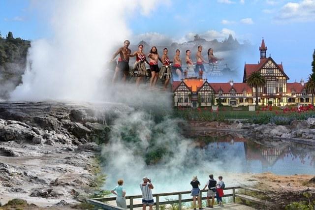 Rotorua, uno de los reclamos turísticos de la isla Norte de Nueva Zelanda