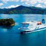 Bella fotografía del ferry que une las dos islas de Nueva Zelanda
